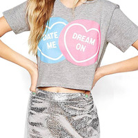 Cropped T-shirt With Lovely Print