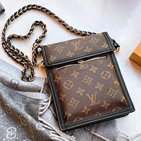 Hipgirls LV Louis Vuitton New Fashion Lady Letter Print Retro Chain Small Shoulder Bag Slant Crossbody Bag