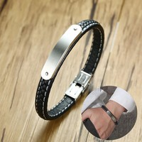 """Personalised Men's Steel ID Bar Bracelet and Black Braided Leather Braslet for Men Engraved Message  Male Jewelry 8.26"""""""