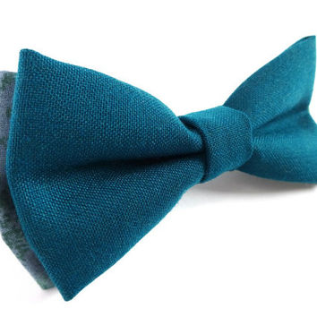 Green Cotton Bow Tie with Light Green Tips, Mens Bow Tie, Bow Tie, Neckwear, Bowtie, Pre-tied Bow Tie, Green Bow Tie, Mens Accessorie, Bow