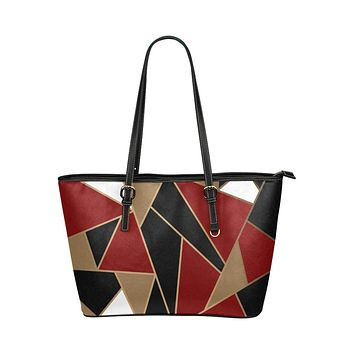 Tote Shoulder Bag with Black and Red Geometric Patch Design