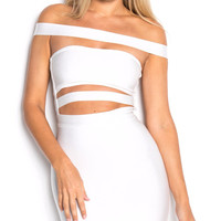 KYLIE WHITE CUT OUT BANDAGE DRESS