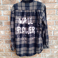"Plaid flannel ""Wall Flower"" hand painted shirt // soft grunge"