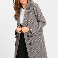 Glen Plaid Double Breasted Coat -SheIn(Sheinside)