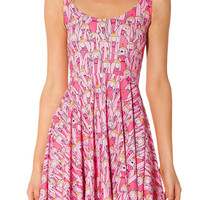Pink Bubblegum Princess Print Sleeveless Pleated Mini Dress