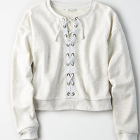 AE Lace Up Front Crewneck Sweatshirt, Light Heather