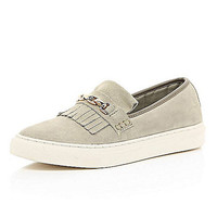 River Island Womens Beige fringe and chain chunky sole plimsolls