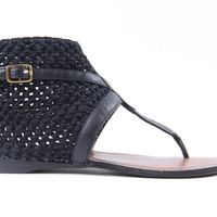 Black Ankle High Gladiator Embroidered Casual Sandals