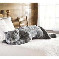 Cat Body Pillow, in Gray