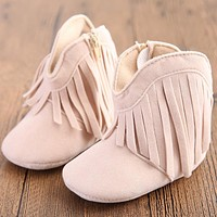 Absolutely Adorable Baby Cowkid Fringed Booties in Six Beautiful Colors