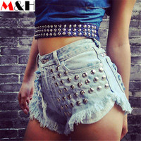 Street Style Rivet High Waisted Denim Shorts Ripped Jeans for Women 2016 Summer Pantalon Jean Femme Plus Size Shorts Bermudas