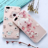 KISSCASE 3D Flower Phone Silicone Case for iPhone 6 6S Plus 7 7 Plus Cases Cute Girly Soft Anti Scratch Back Cover Coque Capa