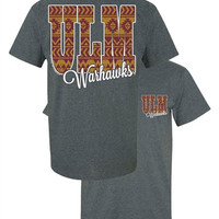 Southern Couture ULM Warhawks Aztec Tribal University of Louisana Monroe Girlie Bright T Shirt