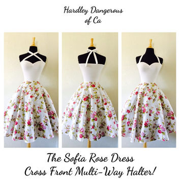 The Sofia Rose, Sexy Rockabilly WHITE Floral  Cross Front Multi-Way Halter Dress, Vintage Modern Bridesmaid