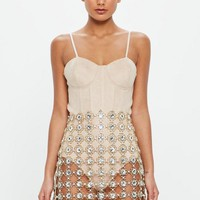 Missguided - Peace + Love Gold Crystal Skirt Piece