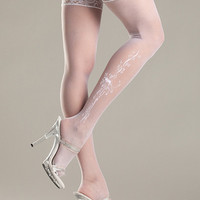 Sheer Lace-top Stockings with Woven Bows and Floral Pattern