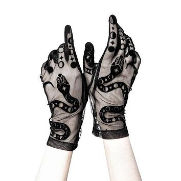 Restyle Moon and Snake Wicca Gothic Black Mesh Gloves
