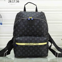 LV Louis Vuitton tide brand men and women classic old flower canvas travel bag backpack Black print