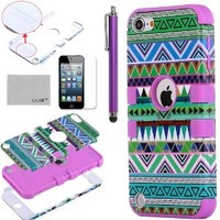 iPod Touch 5 case,ULAK® Hybrid Green Hard Aztec Tribal Pattern with Purple Silicon Case Cover for Apple iPod Touch (Generation 5) + Screen Protector + Stylus