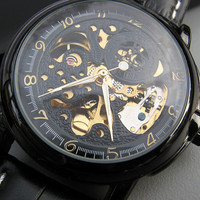 Mechanical Luxury Wrist Watch with Genuine Black Leather Wristband - Automatic Watch - Victorian Steampunk Era - Groomsmen - Item MWA56