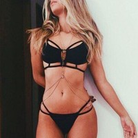 Solid Color Sexy Hollow Out Bikini Swimsuit Swimwear