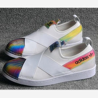 """""""ADIDAS"""" S81340 Trending Fashion Casual Sports Shoes Black white laser shell top cap"""