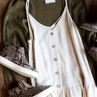 Button Front Natural Tank, Oatmeal