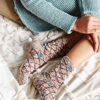 Marled Diamond Slub Boot Sock