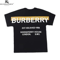 BURBERRY Summer Newest Trending Print Short Sleeve Round Collat T-Shirt Top Black