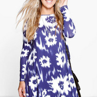 Large Size Knit Printed Dress