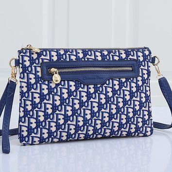 Christian Dior embroidered letters ladies shopping cosmetic bag clutch Blue