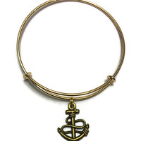 Anchor Charm Bracelet - Anchor Charm Bangle - Gold Anchor Adjustable Charm Bangle Bracelet - Stacking Bangles - Nautical Jewelry
