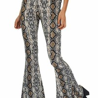 Snake Skin Python Print High Waist Bell Bottom Pants
