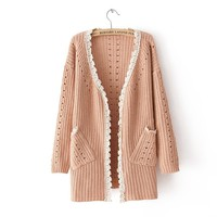 Lace Flower Edge Hollow Out Cardigan