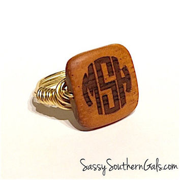 Wire Wrap Ring | Monogram Ring | Gift For Her | Wire Wrap Jewelry | Monogram Jewerly | Hand Made Jewelry