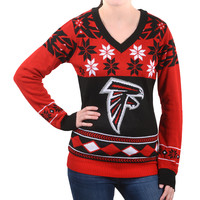 Atlanta Falcons Forever Collectibles Women's V Neck Big Logo Ugly Sweater Sizes S-XL w/ Priority Shipping