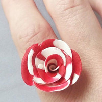 Flower Ring, Red Rose Jewellery, Handmade Ring, Polymer Clay, Fashion Jewelry, Adjustable Ring