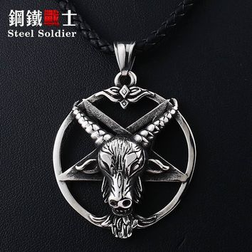 Steeel soldier huge Pentagram punk ox goat Head Pendant quality Necklace antique Satanism Occult vintage Star jewelry