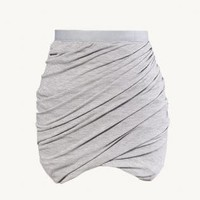 Gray Jersey Knit Twist Skirt with Elastic Waist