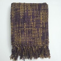 "North Shore Living Purple & Tan Woven Knit Throw Blanket Tassles 60"" x 50"""