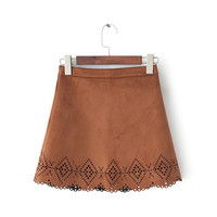 Cutout A-Line Suede Mini Skirt