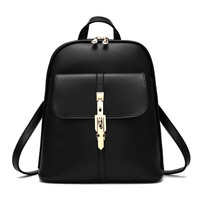 Fashion Simple Zip Lock Buckle Double Shoulder Bag Backpack Handbag Single Shoulder Bag