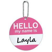 Layla Hello My Name Is Round ID Card Luggage Tag