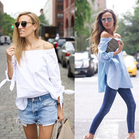 2016 New Fashion Off Shoulder Blouse Sexy Slash Neck Long Sleeve Bow Blouses And Shirts Women Loose Tops Summer Blusas Striped