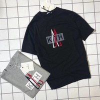 """MONCLER x KITH"" Unisex Loose Casual Letter Pattern Print Short Sleeve Couple T-shirt Top Tee"