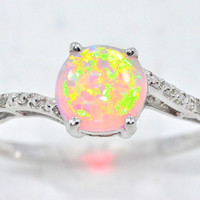 1.5 Carat Pink Opal Round Diamond Ring .925 Sterling Silver Rhodium Finish White Gold Quality