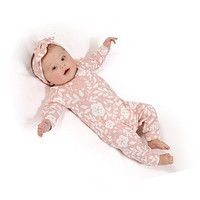 2018 autumn style baby girls rompers Long sleeve pink one piece romper +Headband 2pcs Christmas baby clothes jumpsuit outfits
