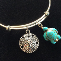 Sand Dollar and Turquoise Turtle on a Silver Adjustable Bangle Charm Bracelet Fertility Charm Bangle Expandable Charm Bracelet