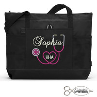 Personalized Nurse, Medical Personnel Zippered Tote Bag with Mesh Pockets, Beach Bag