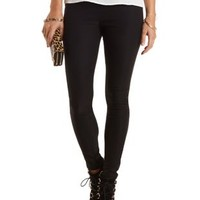 High-Waisted Skinny Trousers by Charlotte Russe - Black